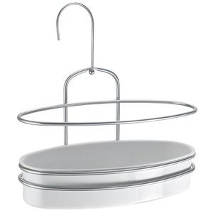 Metaltex Duschregal Orbit, Plastik, weiß/Silber, 26 x 13 x 17 cm