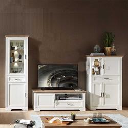 Beleuchtete TV Wohnwand im Landhausstil Weiß und Eichefarben (3-teilig)