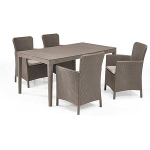 Allibert Gartenmöbelset Girona Dining Set, (Dining Set, 5-tlg., inkl. Polsterauflagen), 4x Sühle, 1x Tisch natur