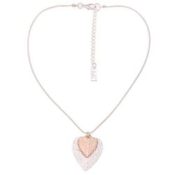 leslii Halskette mit doppeltem Herz-Anhänger silberfarben