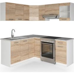 Vicco Küche Küchenzeile L-Form Küchenblock Einbauküche Komplettküche 167x187cm Sonoma