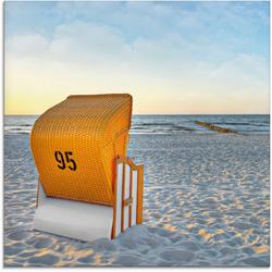 Artland Glasbild Ostsee7 - Strandkorb, Strand (1 Stück) 30 cm x 30 cm