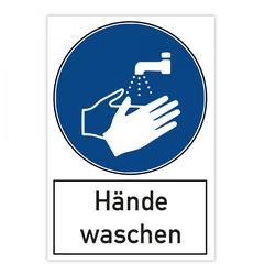 Warnschild - Hände waschen (200x300 mm)