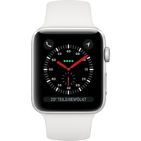 Apple Watch Series 3 (GPS + Cellular) 42 mm Aluminiumgehäuse silber mit Sportarmband weiß