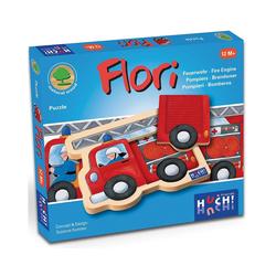 Huch! Puzzle Holzpuzzle Feuerwehrauto Flori 4 Teile, Puzzleteile
