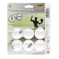 6 Idena Tischtennisbälle   weiß