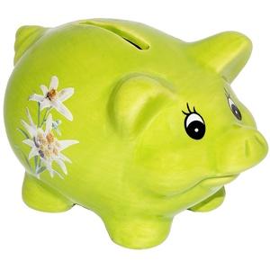 alles-meine.de GmbH große Spardose -  Schwein mit Edelweiß - GRÜN  - stabile Sparbüchse aus Porzellan / Keramik - Sparschwein - Trachten / Bayrisch - für Kinder & Erwachsene / ..