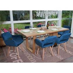 6x Esszimmerstuhl MCW-A50 II, Stuhl Küchenstuhl, Retro 50er Jahre Design ~ Samt, petrol, helle Beine