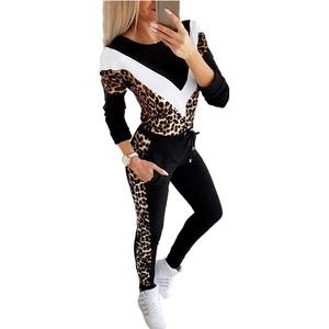 Fliegend Damen Leopard Sportanzug Freizeitanzug Jogginganzug Langarmshirt + Lange Sporthose Zweiteiler Traininganzug Laufenanzug S