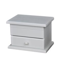 elbmöbel Schmuckkasten Schmuckkiste weiß 1 Schublade, kleine Kommode Schmuckkommode Holz weiß Tischkommode Schränkchen