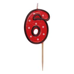 Zahlenkerze, Geburtstagskerze `6` rot, ca. 85 mm