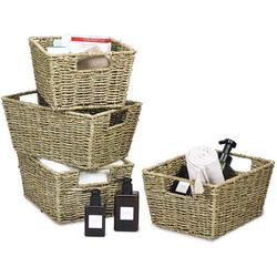 COSTWAY Aufbewahrungskorb 4er Set Aufbewahrungsboxen, aus Seegras, für Regale und Schränke, zum Organisieren von Küche, Badezimmer