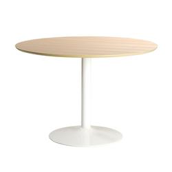 Stół do jadalni okrągły Balsamita średnica 110 cm dąb na białej nodze