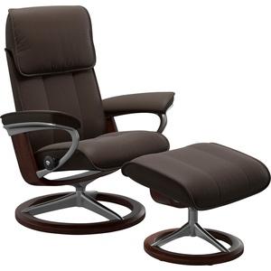 Stressless® Relaxsessel Admiral (Set, Relaxsessel mit Hocker), mit Hocker, mit Signature Base, Größe M & L, Gestell Braun braun 93 cm x 113 cm x 79 cm