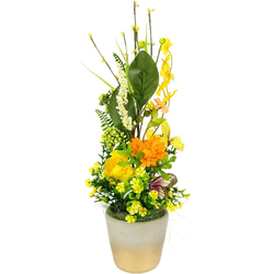Kunstblume Arrangement Ranunkel, I.GE.A., Höhe 45 cm, Pflanzschale aus Rinde mit Moos