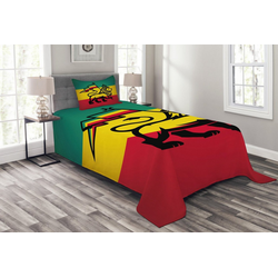 Tagesdecke Set mit Kissenbezügen Waschbar, Abakuhaus, Rasta Judah Lion Rastafari Flagge 170 cm x 220 cm