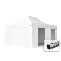 Toolport Faltpavillon 4x6m Long-Life PVC 620 g/m² weiß wasserdicht Faltzelt, Klappzelt
