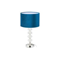 relaxdays Nachttischlampe Tischlampe Kristall und Samt in Blau