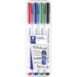 Staedtler 301 WP4 Lumocolor whiteboard pen 301 Whiteboardmarker Schwarz, Rot, Blau, Grün 4 St./Pack