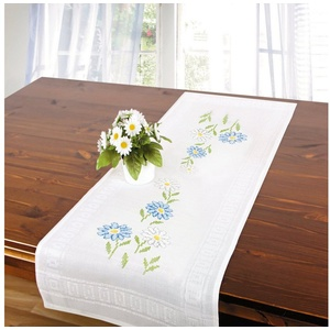 Delindo Lifestyle Kreativset Handarbeits-Stickpackung - Tischläufer - Sticken im Kreuzstich- neutrale Motive, Kreuzstich