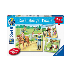 Ravensburger Puzzle Puzzle Ein Tag auf dem Reiterhof, 3 x 49 Teile, Puzzleteile