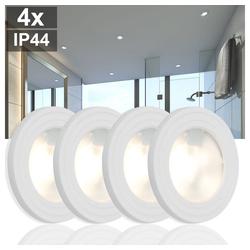 etc-shop LED Einbaustrahler, 4x Design Einbau Spot Strahler Bade Zimmer Feuchtraum Veranda Lampen rund weiß