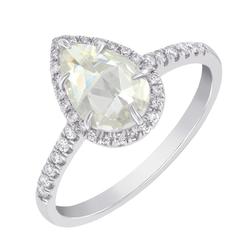 Verlobungsring in Gold mit Birne-Schliff Moissanit und Diamanten Ladfer