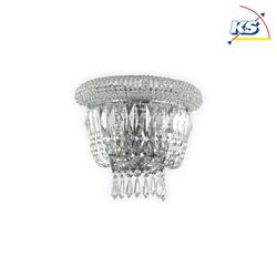 Ideal Lux Wandleuchte DUBAI, 2-flammig, E14, Metall / Kristall geschliffen, Chrom IDEA-207155
