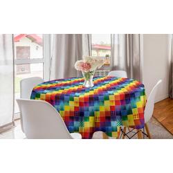 Abakuhaus Tischdecke Kreis Tischdecke Abdeckung für Esszimmer Küche Dekoration, Patchwork Regenbogen-Retro Patchwork
