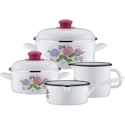 GSW Topf-Set Hortensie, Stahl-Emaille, (Set, 6-tlg), Induktion