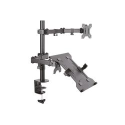Drall Instruments LT15-IP27B Monitor-Halterung, (bis 32 Zoll, 1-tlg., Doppelarm für 1 x Monitor und 1 x Laptop-Ablage)