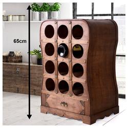 etc-shop Weinregal, Wein Flaschen Steh Regal Holz Truhen Schrank rustikal braun 6-18 Flaschen Ständer Kiste Fass Design