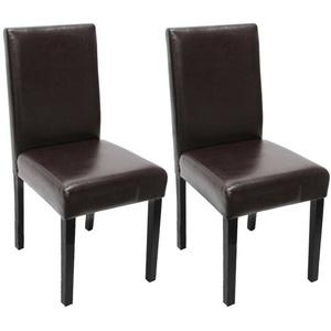2x Esszimmerstuhl Stuhl Lehnstuhl Littau Leder, braun dunkle Beine