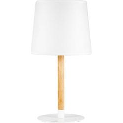 Pauleen Tischleuchte Woody Cuddles, Weiß max. 20W E27 Stoff, Holz, Metall