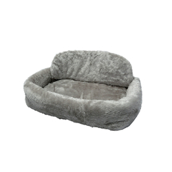 Tiersofa de Luxe Teddyplüsch mit Kissen, L45 x B75 x H21 cm, grau
