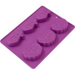 p:os Backform Silikonbackform Einhorn, 6 Stück lila