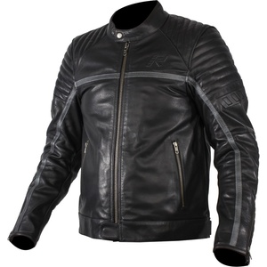 Rukka Yorkton Motorrad Lederjacke, schwarz-silber, Größe 52