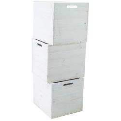 Kistenkolli Altes Land Allzweckkiste 3er set Holzkiste weiß passend für Kallax und (3er Set)