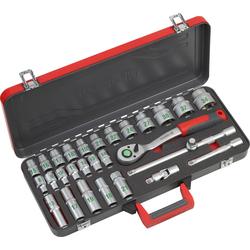 meister Werkzeugset Steckschlüsselsatz, (28-St), Steckschlüsselsatz, 1/2 Zoll, inkl. Koffer