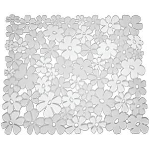 iDesign Blumz Spülbeckeneinlage, reguläre Spülbeckenmatte aus PVC Kunststoff, durchsichtig