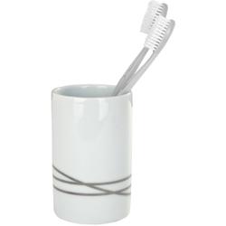 WENKO Noa Zahnputzbecher, Stilvoller Zahnbecher zur Aufbewahrung von Zahnbürsten und Zahnpasta, Weiß
