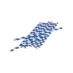 Horror-Shop Einweggeschirr-Set Blau-weiße Party Strohhalme aus Papier 12 Stück, Papier