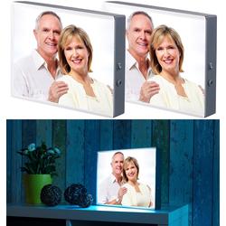 2er-Set LED-Leuchtkasten für individuelle Bilder auf Folie und Papier