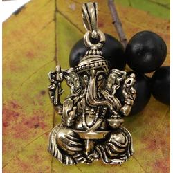 Guru-Shop Kettenanhänger Amulett `sitzender Ganesha`, goldener..