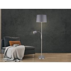 meineWunschleuchte Stehlampe, schöne große Steh-Leuchte mit Stoff-Lampen-Schirm modern ausgefallen zum lesen Lese-Lampe neben Sofa Landhaus-Stil