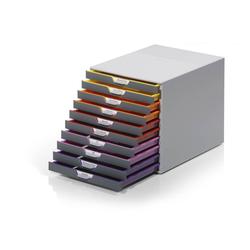 DURABLE Schubladenbox, Durable 761027 Schubladenbox A4 (Varicolor) 10 Fächer, mit Etiketten zur Beschriftung, mehrfarbig