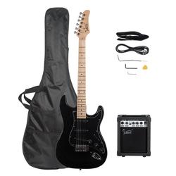 Glarry E-Gitarre GST+, E Gitarre Set Elektrogitarre E-Gitarre Schwarz mit Tasche VerstÄrker 20 Watt