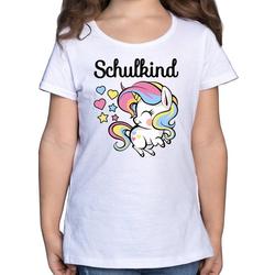Shirtracer T-Shirt Schulkind mit Einhorn - Einschulung und Schulanfang - Mädchen Kinder T-Shirt - T-Shirts einschulung einhorn 128 (7/8 Jahre)