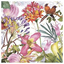 Linoows Papierserviette 20 Servietten Tropen, Exotischer Blühender Garten, Motiv Tropen, Exotischer Blühender Garten und Vögel