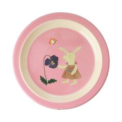 rice Teller Melamine-Teller Häschen, grün rosa